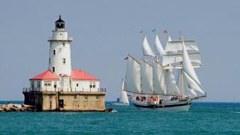Ocean ships lighthouses boats harbor marine wallpaper
