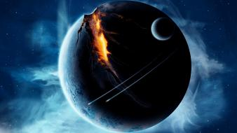 Outer space planets broken spaceships wallpaper
