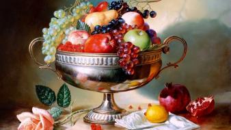 Paintings flowers fruits grapes pears apples lemons wallpaper