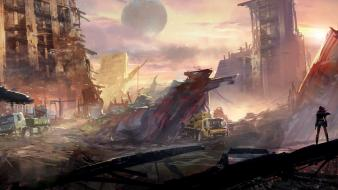 Post-apocalyptic fantasy art trash science fiction artwork widescreen wallpaper