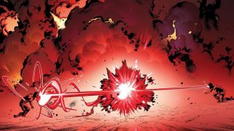 Red comics explosions fight marvel cyclops scott summers Wallpaper