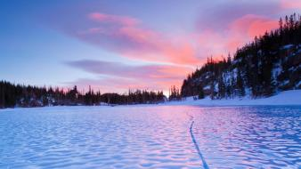 Sunset landscapes nature frozen lake natural Wallpaper