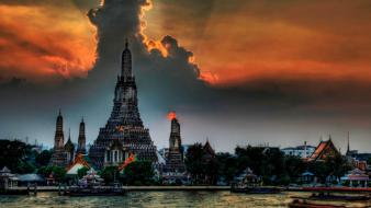 Temples thailand hdr photography rivers wallpaper