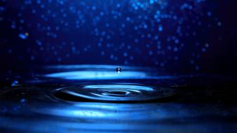 Water close-up blue waves drop bokeh background widescreen wallpaper