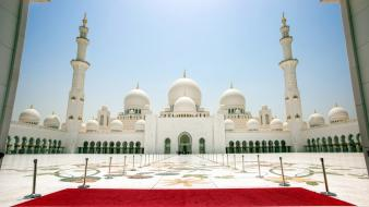 White united arab emirates mosque abu dhabi wallpaper