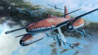 Aircraft world war ii artwork me 262 schwalbe Wallpaper