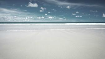 Beach minimalistic sand white blue skies wallpaper