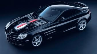 Black mercedes-benz mercedes benz slr mclaren engine wallpaper