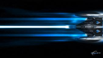 Blue freedom ships fighters lasers wallpaper