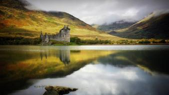 Castles trees ruins scotland lakes kilchurn castle wallpaper
