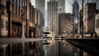 Cityscapes streets chicago usa reflections Wallpaper