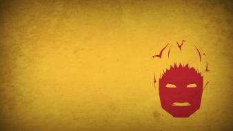 Comics characters human torch yellow background blo0p Wallpaper