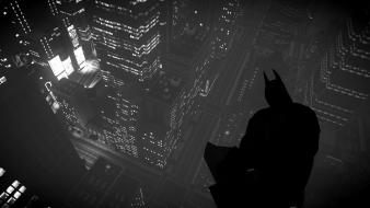 Comics silhouette gotham city grayscale lights artwork wallpaper