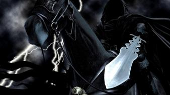 Death dark reaper fantasy art horses swords wallpaper