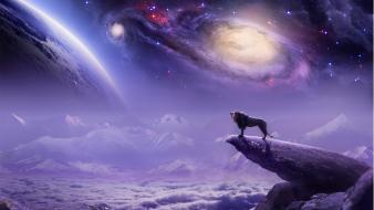 Galaxies animals rocks fantasy art lions space Wallpaper