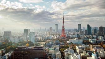 Japan clouds tokyo cityscapes tower buildings towers wallpaper