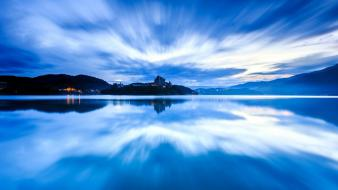 Light water blue landscapes nature movement city night wallpaper