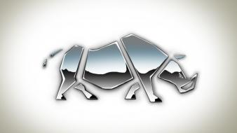 Minimalistic animals shape rhinoceros digital art 3d Wallpaper