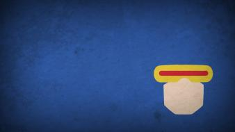 Minimalistic x-men characters cyclops blue background blo0p wallpaper