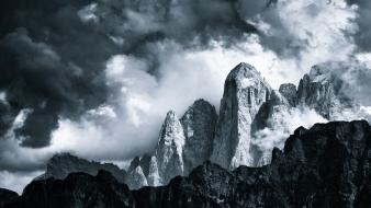 Mountains clouds grey wallpaper