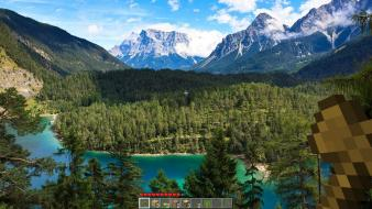 Mountains landscapes minecraft wallpaper