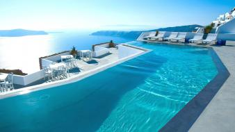 Nature architecture houses santorini greece swimming pools Wallpaper
