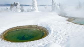 Nature snow hot springs wallpaper