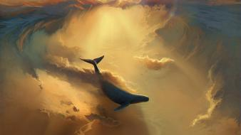 Paintings ocean ships whales dreams infinite wallpaper