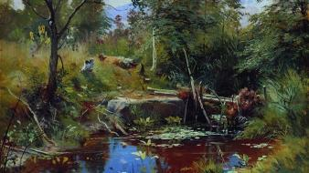 Ponds artwork traditional art ivan shishkin russian Wallpaper