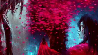 Senbonzakura artwork flower petals flowered trees nanfe Wallpaper