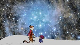 Snow outer space calvin and hobbes wallpaper