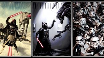 Star wars stormtroopers darth vader artwork crossovers aliens wallpaper