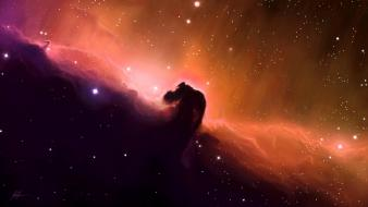 Stars shining horsehead nebula gas cloud skyscapes Wallpaper