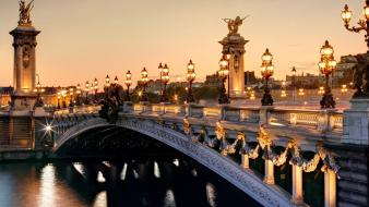 Statues street lights rivers alexandre iii bridge wallpaper