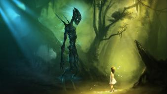 Sunlight artwork alien life forms vines children wallpaper