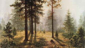 Sunlight artwork traditional art ivan shishkin russian wallpaper