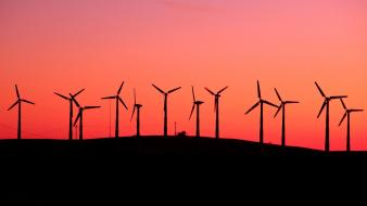 Sunrise landscapes silhouette california windmills Wallpaper