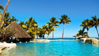 Swimming pools hotels islands resort relaxation sea wallpaper