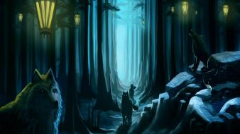 Trees night forest animals rocks lanterns artwork wolves Wallpaper