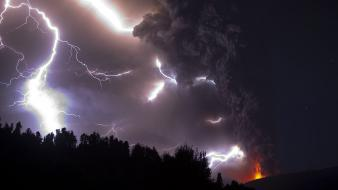 Volcanoes weather lightning volcano puyehue Wallpaper