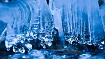 Water ice blue nature winter cold frozen icicles wallpaper
