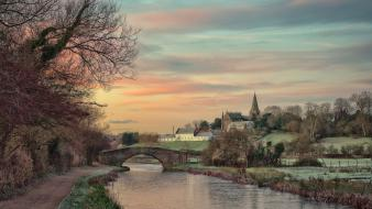 Water trees cityscapes bridges town church rivers Wallpaper
