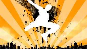 Wings cityscapes vector wallpaper