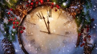 Winter clocks christmas wallpaper