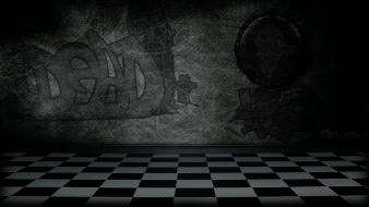 Abstract black white mirrors room shining graffiti wallpaper