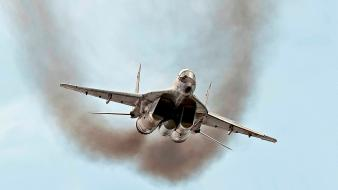 Aircraft smoke mig-29 fulcrum aviation fighter jets wallpaper