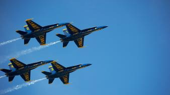 Blue aircraft us navy angels skyscapes formation flying wallpaper
