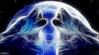 Blue moon fractalius howling wolf wolves Wallpaper