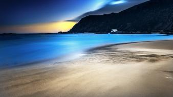 Blue ocean landscapes nature beach night norway sea wallpaper