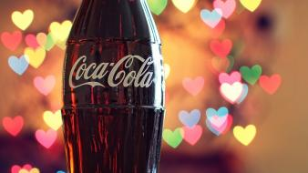 Bottles coca-cola hearts wallpaper